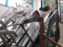 Stairclimber carrying heavy load up stairs